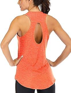 Fihapyli Women's Yoga Top Backless Workout Tank Tops for Women Sleeveless Keyhole Open Back Racerback Muscle Tank Workout ...