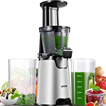 Slow Masticating Juicer, Aicok Compact Cold Press Juicer Machine, Quiet Motor and Reverse Function, Easy to Clean, BPA-Free, with Brush and 3 Strainers for Fruits and Vegetables