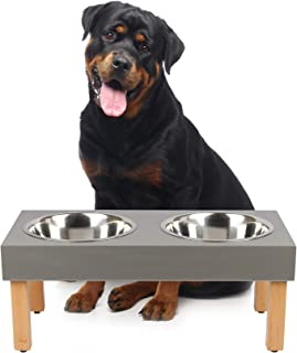 O&J OBI & JERRY 'S CARPENTRY Slate Laminated Double Diner for Large Dog Breed, Comes with Stainless Steel Food and Water B...
