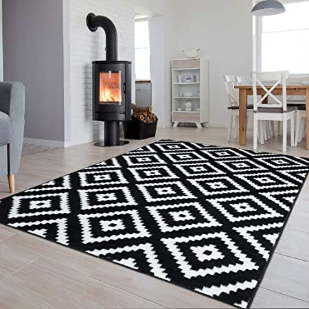 tapiso collection luxury tapis de salon chambre moderne couleur noir blanc motif geometrique facile d entretien haute qualite 250 x 350 cm