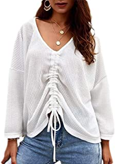 Womens Sweater V Neck Drawstring Long Sleeve Loose Fit Pullover Tops Knits