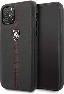 Ferrari Vertical Stripe Leather Hard Case for iPhone 11 Pro - Black