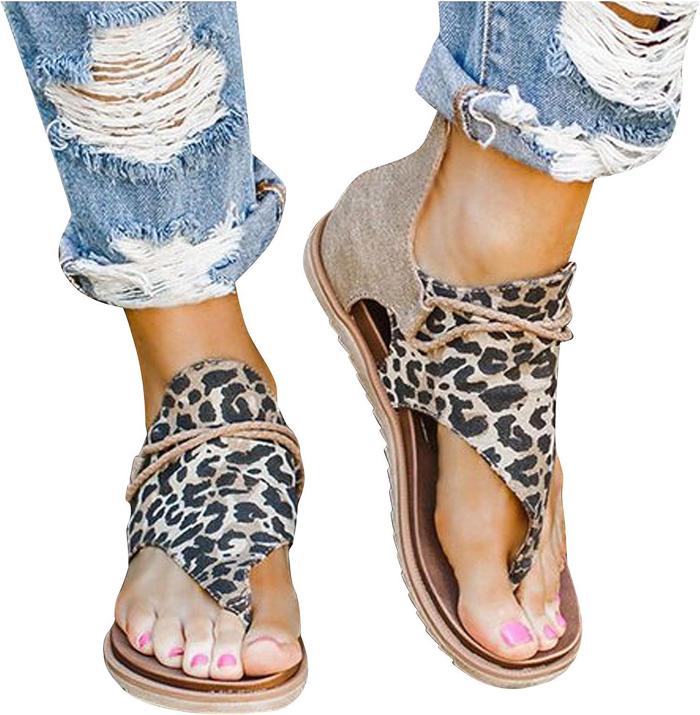 Peep Toe Sandals for Women Flat Flip Flop Zipper Back Roman Bucket Beach Sandals Sunflowers Leopard Strap Casual Shoes