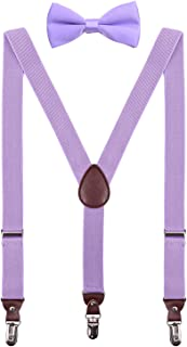 PZLE Boys Suspenders and Bow Tie Adjustable Set for Wedding 30 Inches Lavender