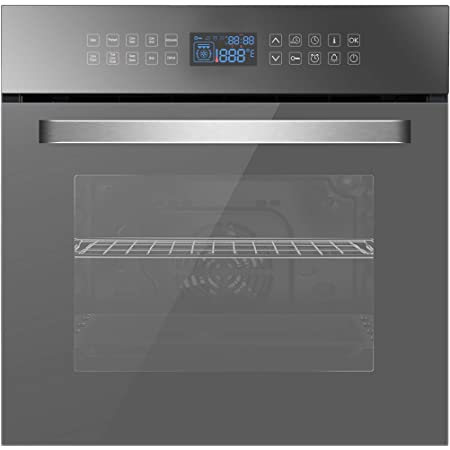 """Empava 24"""" 10 Cooking Functions W/Rotisserie Electric LED Digital Display Touch Control Built-in Convection Single Wall Oven, 24WOC17"""