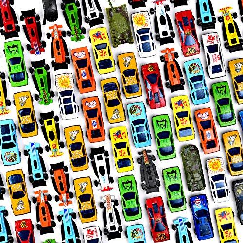 Prextex 100 Pz Automobili Giocattoli Metallo Pressofuso Plastica da Festa Guarnizioni Torte per Bambini