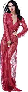 Women's Sexy See-Through Lace Babydoll Nightwear Long Gown Lingerie Dress