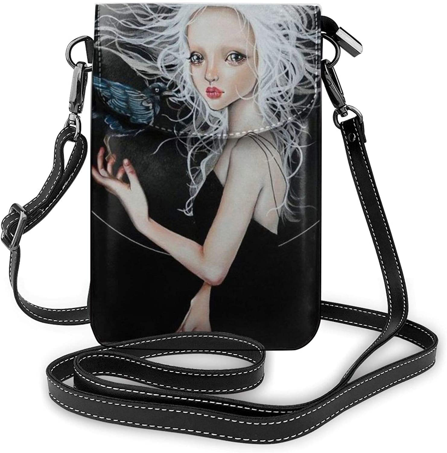 SWEET TANG Women Girls Purse Cell Phone Shoulder Bag Smooth Zipper Small Crossbody Phone Bag Suitable for Mobile Phones and Short Travel, Goth Gotik Gothic Women Girl Art Black