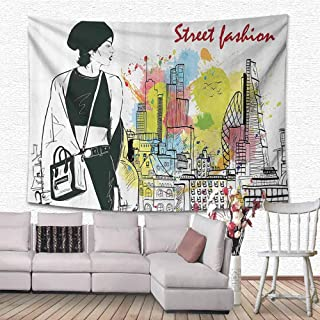 Fashion House Decor Wall Hanging Bedding Tapestry Girl in Hovel Style Clothes Citys Skyscrapper Scene Street Fashion Decorations for Living Room 63