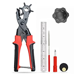 Leather Hole Punch,Belt Hole Puncher for Leather& Leather Punch Tool for Belts Diameter: 4.5/4/3.5/3/2.5/2mm Leather Hole Puncher for Leather, Belts, Watches, Vinyl, Plastic, Handbags & More Multi Hole Sizes Maker Tool