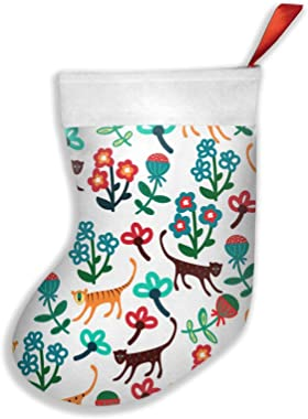 Tberj92-P Fashion Floral with African Animals Christmas Stocking, Pleuche Santa Snowman Stocking for Childrens Gift Bags with
