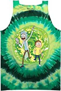 Rick and Morty Adult Unisex Large Portal Light Weight 100% Cotton Tie Dye Muscle Tank Top