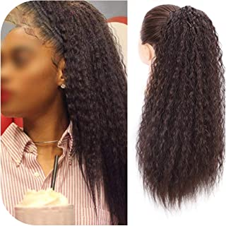 Surprise S Long Afro Kinky Curly Ponytail Extension 22 Inch Synthetic Drawstring Corn Hair Piece For Women Black Brown-One...