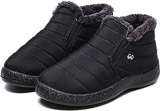 Bottes De Neige pour Hommes Chaussures d'hiver Slip sur des Bottes De Neige Bottines Chaudes À La Cheville Chaud (Noir),No...