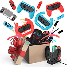 Accessories Kit for Nintendo Switch Games Bundle Carrying Case, Protective Case, Screen Protector, Joystick Cap, Charging ...