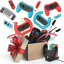 Kit de acessórios para Nintendo Switch Games, estojo de transporte, capa protetora, protetor de tela, boné Joystick, base ...