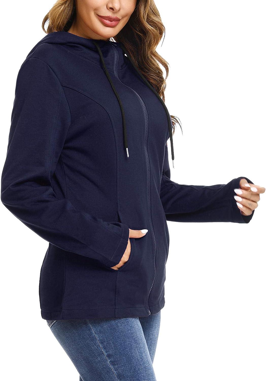 Aibrou Femme Sweat /à Capuche avec Poches Cotton Hoodies Zipp/é Sweatshirt Manches Longues Veste Casual Grande Taille Printemps Automne