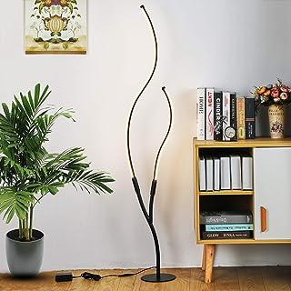 Lampadaire LED à intensité variable Personnalité Mode nordique 2 courbes Blanc Noir avec télécommande Lampe sur pied pour ...