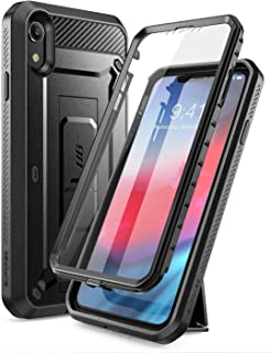 iPhone XR 手机壳,SUPCASE 全身坚固皮套支架手机壳带内置屏幕保护膜,适用于 Apple iPhone XR 6.1 英寸(2018 版),Unicorn Beetle Pro 系列 - 零售包装SUP-iPhone XR-6.1-UBPro-SP-Black 黑色