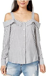 MINKPINK Women's Striped Cold-Shoulder Shirt