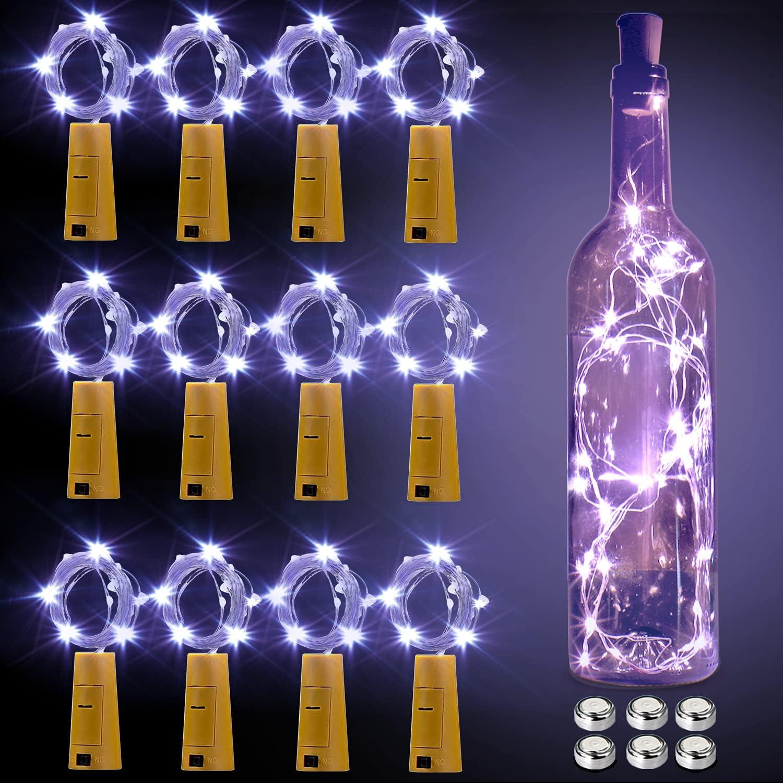 Luces para Botellas, Luces Led para Botellas 12 Pack, Luces Botellas decorativas de Vino 2m 20 LED a Pilas Decorativas Cobre Luz para Romántico Boda, Navidad, Fiesta, Exterior, Jardín,(Blanco Frio)