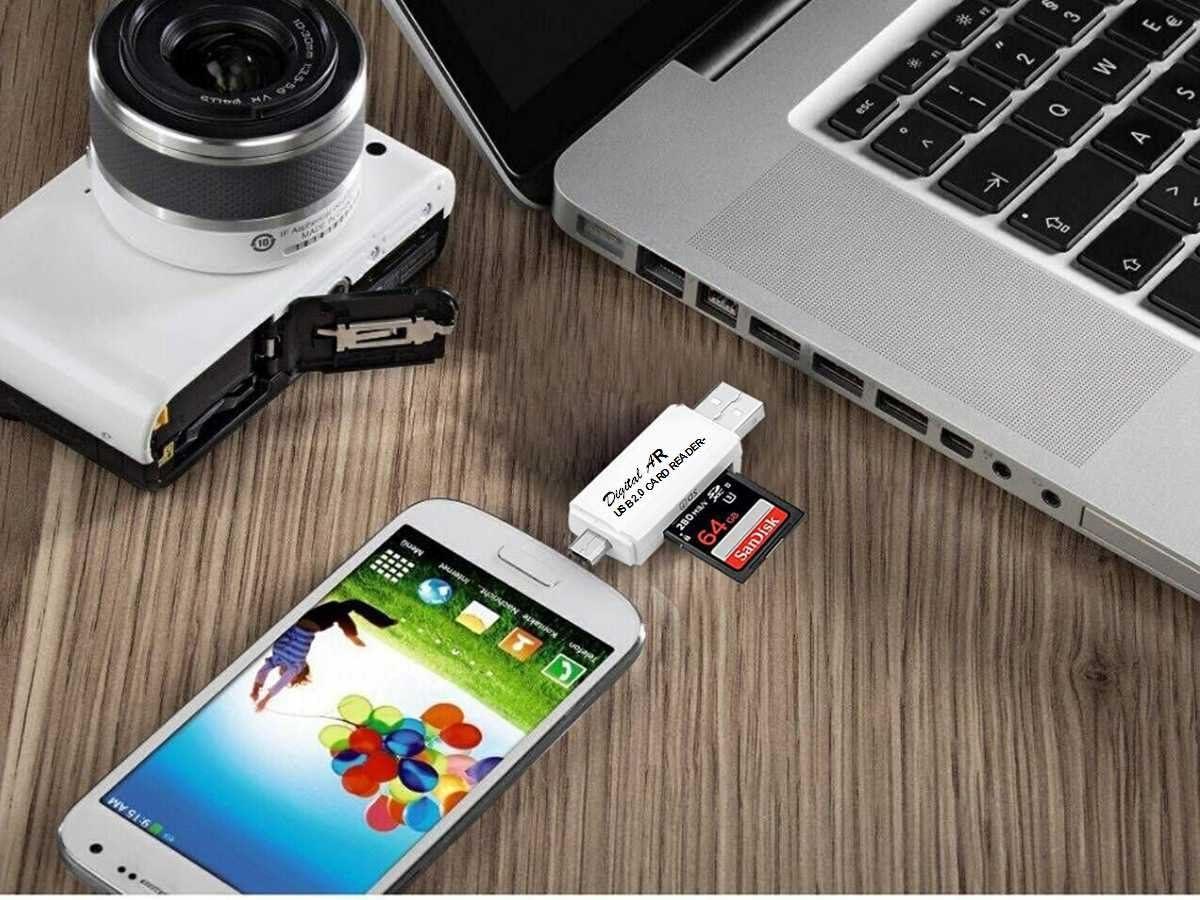 COASD Memory Card Reader SD OTG Adapter and USB 2.0 Portable for SDXC, SDHC, SD, MMC, RS-MMC, Micro SDXC, Micro SD, Micro SDHC Card and UHS-I Card (2.0 White)