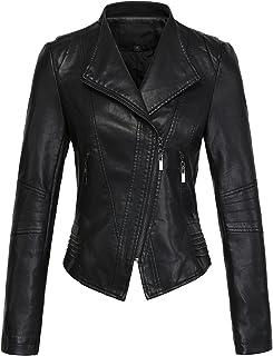 chouyatou Women's Casual Collarless Cropped Pu Leather Biker Jacket