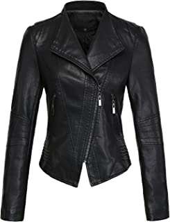 Women's Casual Collarless Cropped Pu Leather Biker Jacket