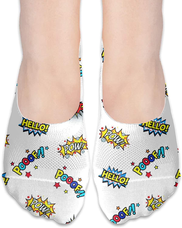 Explosion Flower Alphabet Comfortable Boat Socks-Sweat Wicking Non-Slip Socks Leisure Sports Deodorant Foot Socks