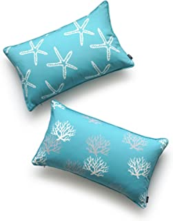 Hofdeco Beach Indoor Outdoor Cushion Cover ONLY, Water Resistant for Patio Lounge Sofa, Aqua Turquoise Starfish Coral, 30c...
