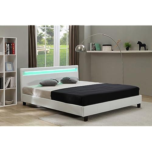 . White Leather Bed  Amazon co uk