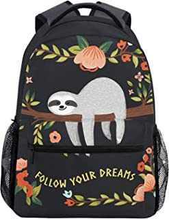 Wamika Funny Cute Sloth Tree Flowers Kids Backpack School Bookbags Daypack Bag Follow Yours Dreams Water Resistant, Sloth Cat Tropical Floral Bags Children Backpack for 1th- 6th Grade Girls Boys