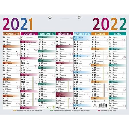 Calendrier Scolaire Septembre 2022 Exacompta   34210E   Calendrier Multicolore   43 cm x 33,5 cm