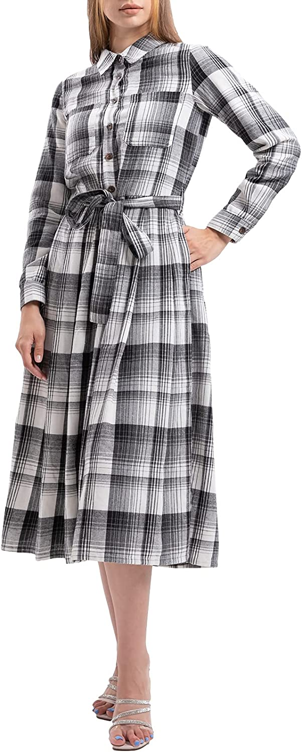Womens Long Sleeve Plaid Flannel Nightgown Down Full Button Manufacturer OFFicial Oakland Mall shop Soft