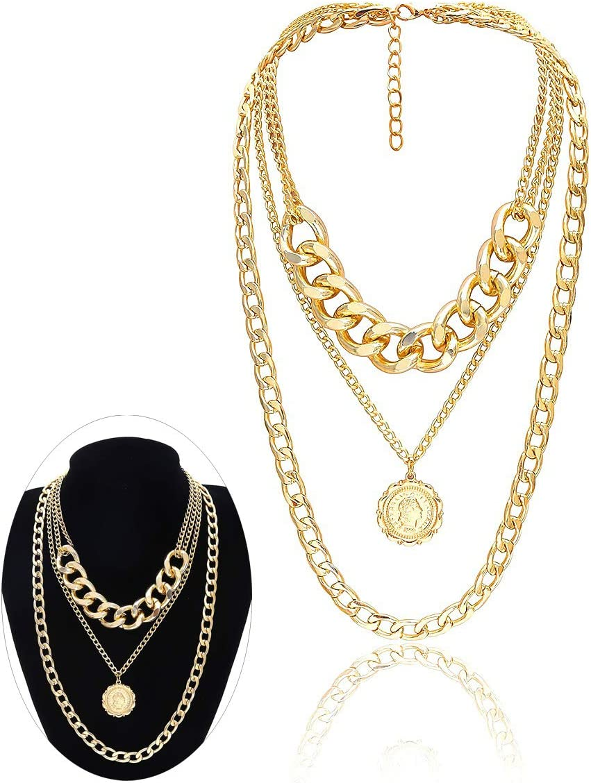 JKJF Multilayer Chain Choker Necklace Chunky Punk Gothic Chain Gold Coin Pendant Metal Collar Necklace for Women Girls - Gold Style 1