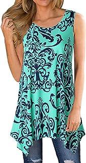 Ezcosplay Women Boho Folk Style Floral Print Sleeveless Asymmetric Hem Tank Tops
