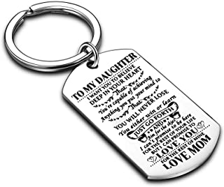 Nimteve Keychain to My Daughter I Want You to Believe Love Mom Dad Dog Tag Military Air Force Navy Coast Guard Gift Birthd...