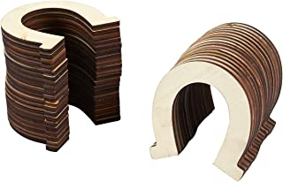 Unfinished Wood Cutout - 36-Pack Horseshoe Shaped Wood Pieces for Wooden Craft DIY Projects, Home Horse Western Themed Birthday Party Wedding Decoration Supplies, Ornament, Gift, 3.25 x 3.5 inches