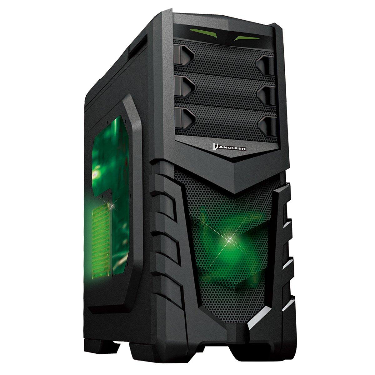 CiT Vanquish - Caja para Ordenador (Puerto USB 3ventana Lateral, Lector de Tarjetas, 2 Ventiladores de 12 cm Verdes): Amazon.es: Informática