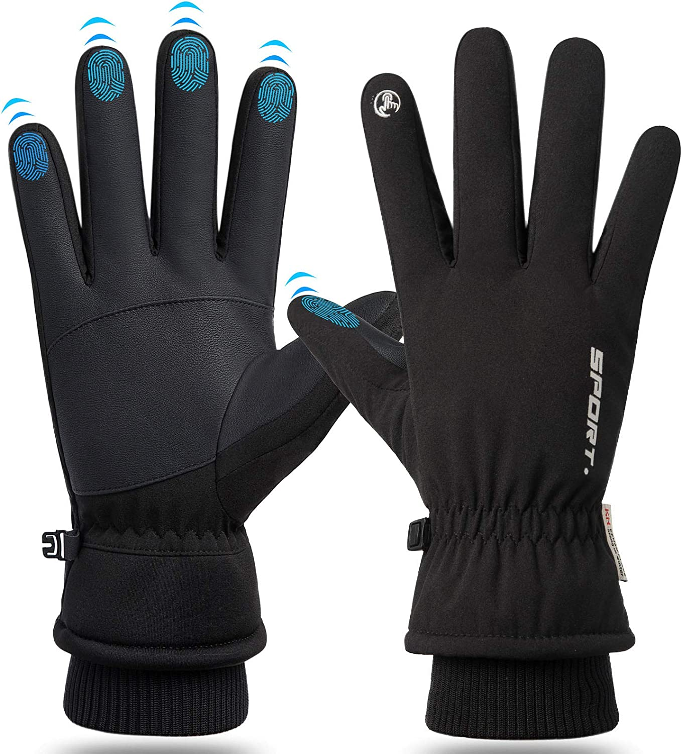 Winter Warm Gloves for Men Women Touchscreen Waterproof Thermal Snow Gloves for Cycling Hiking Running Skiing Outdoor Working