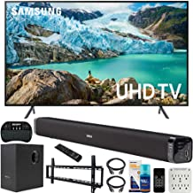 $599 » Samsung UN55RU7100 55-inch RU7100 LED Smart 4K UHD TV (2019) Bundle with Deco Gear Soundbar with Subwoofer, Wall Mount Kit, Deco Gear Wireless Keyboard, Cleaning Kit and 6-Outlet Surge Adapter