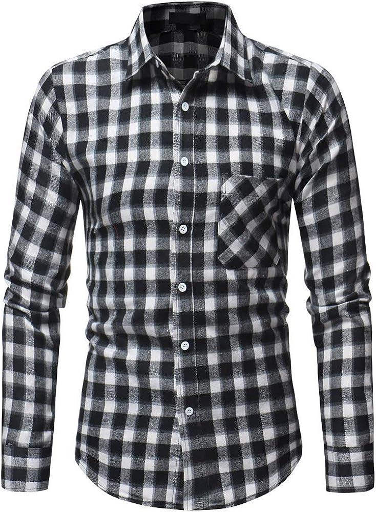Shenglila Mens Plaid Casual Slim Fit Shirt Long Sleeve Button Down Dress Shirts
