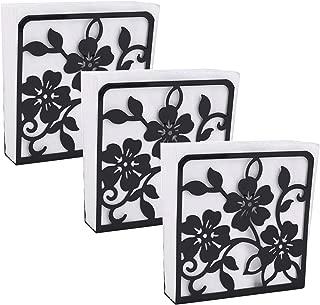 Kingrol 3 Pack Flowers Design Napkin Holder, Tabletop Paper Tissue Dispenser