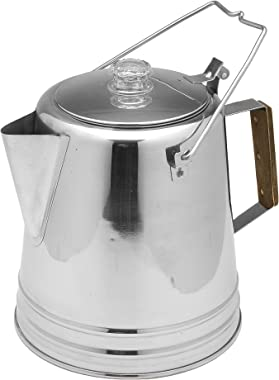 Texsport Stainless Steel Coffee Pot Percolator for Outdoor Camping, 13217, Silver, 14 Cup
