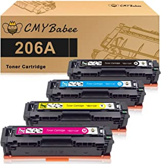 CMYBabee Compatible Toner Cartridge Replacement for HP 206A W2110A W2111A W2112A W2113A for HP Color LaserJet Pro M255dw MFP M283fdw M283cdw M282nw M283 M255 No Chip (Black Cyan Yellow Magenta,4-Pack)