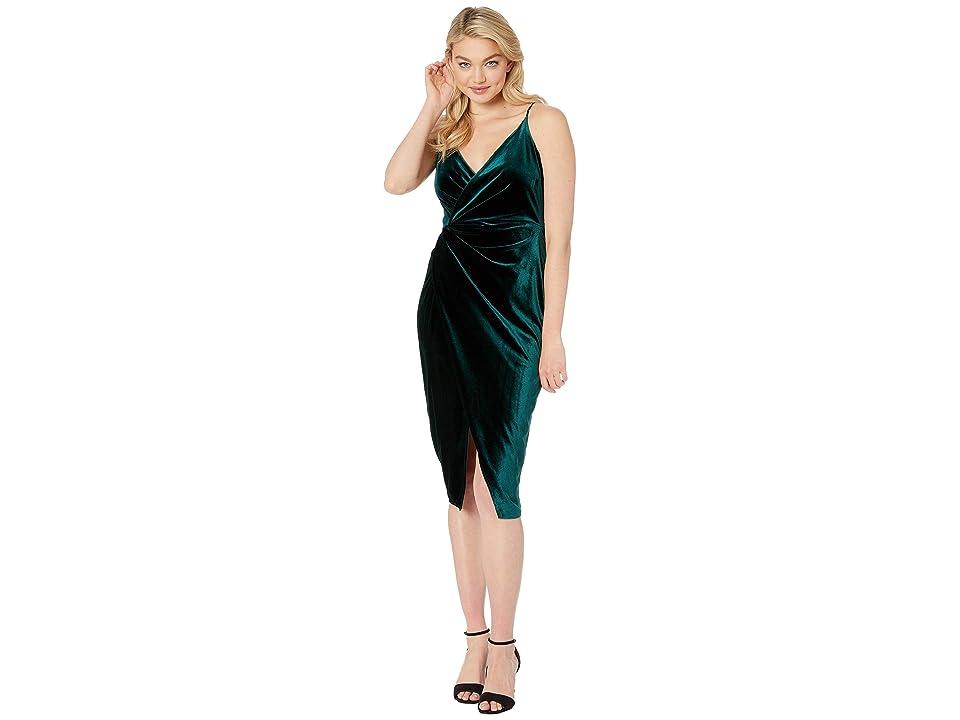 Betsey Johnson Velvet Faux Wrap Dress (Pine Green) Women
