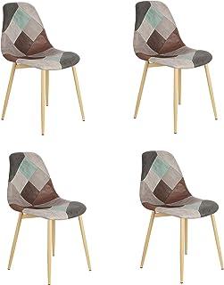 Un ensemble de 4 chaises de salle à manger en lin / patchwork de style moderne avec pieds en fer antirouille pour salle à ...
