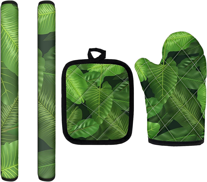 NETILGEN 2 PCS Tropical Leaf Printed Washable Refrigerator Door