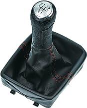 L&P Car Design GmbH 255-2 Funda para Palanca de Cambios con Pomo Costuras Rojas, Color Negro