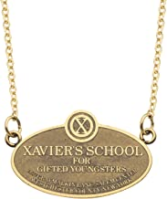 Marvel Comics Unisex Adult X-Men Xavier's School Plague Stainless Steel Pendant Necklace with 18-Inch Chain + 2-Inch Extender, Gold, One Size